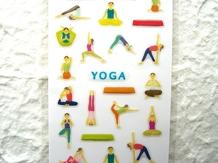 Yoga stickers from Japan ~ maybe not crafty, but adorable & for sale on Etsy.